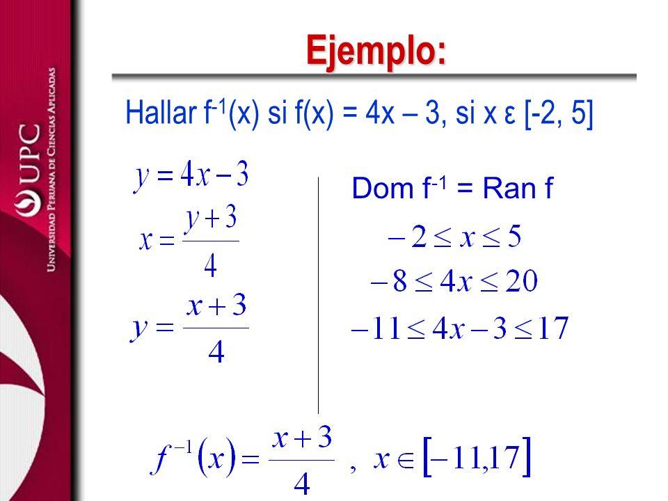Ejemplo: Hallar f-1(x) si f(x) = 4x – 3, si x ε [-2, 5]